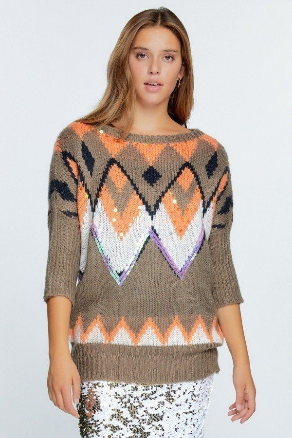 Aztec pattern with glitter accent sweater-id.cc52464