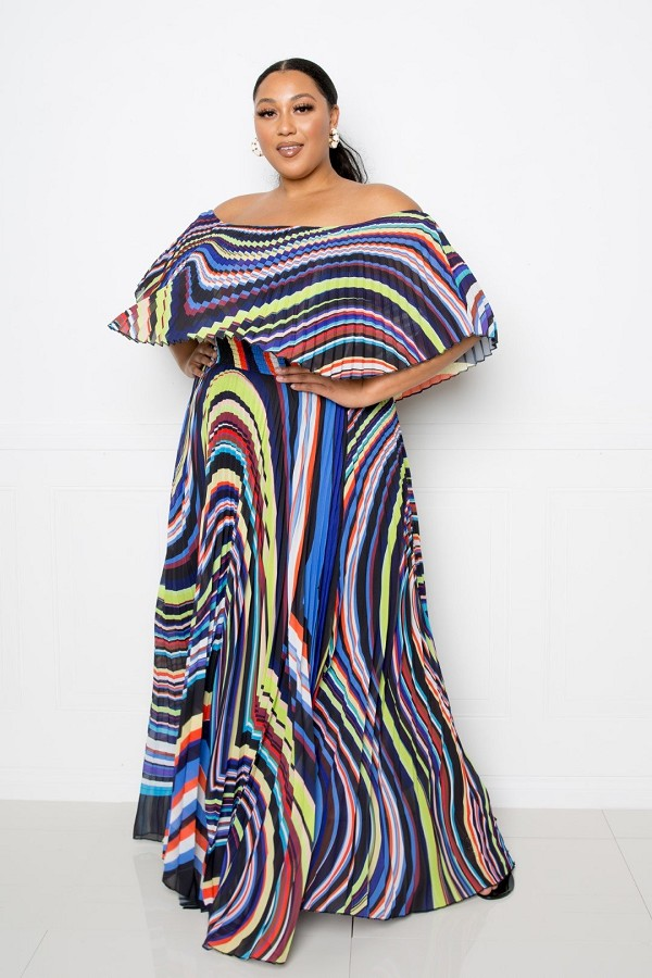 Geo printed off shoulder pleated maxi dress-id.cc52475