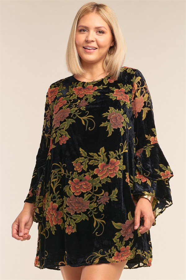 Plus size velvet floral pattern long angel sleeve round neck relaxed fit mini dress-id.cc52560