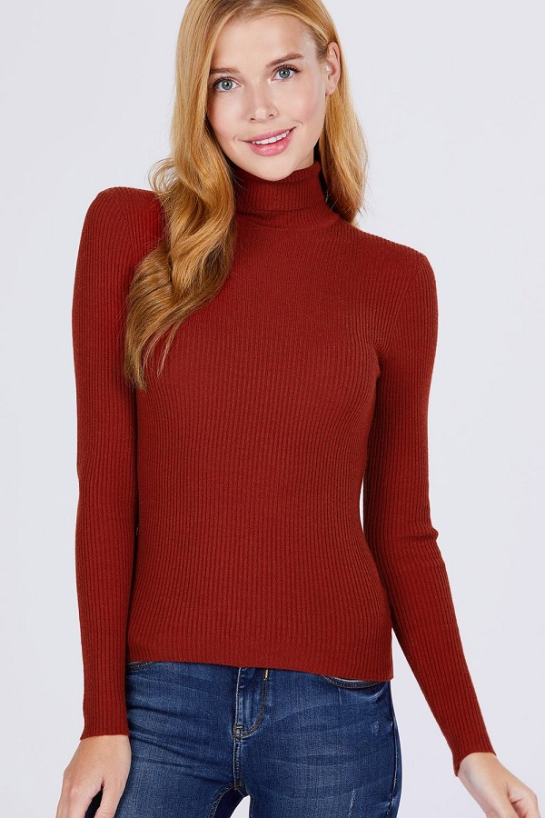 Turtle neck viscose rib sweater-id.cc52561m