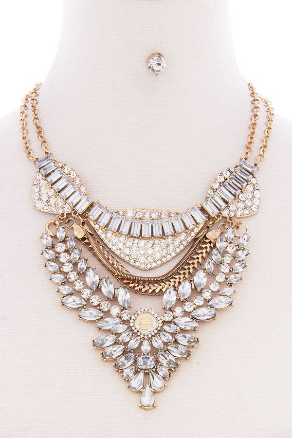 Chunky antique stone boho bohemian statement necklace earring set-id.cc52574