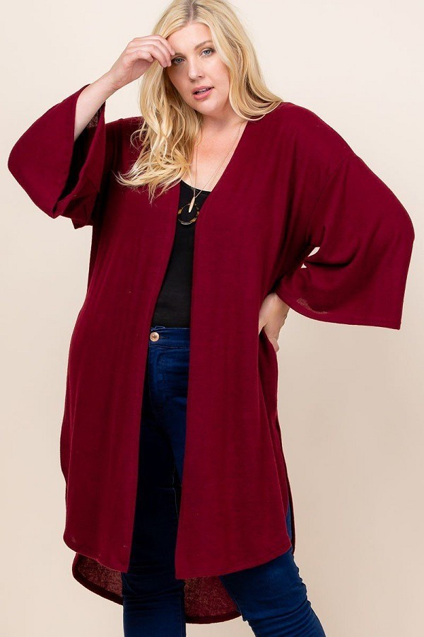 Plus size solid hacci brush open front long cardigan with bell sleeves-id.cc52603b