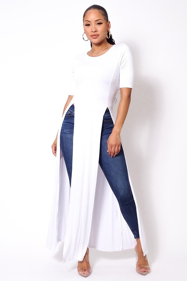 Elbow sleeve maxi tank top with side slits-id.cc52614b