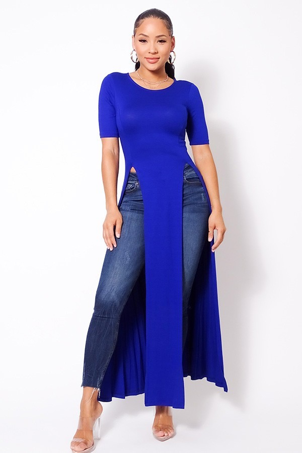Elbow sleeve maxi tank top with side slits-id.cc52614c