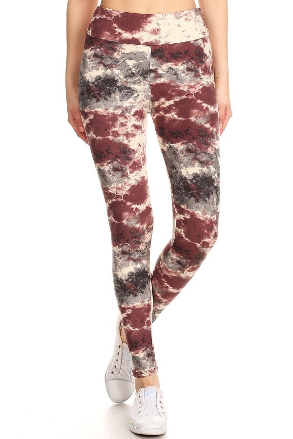 Yoga style banded lined tie dye print, full length leggings in a slim fitting-id.cc52668
