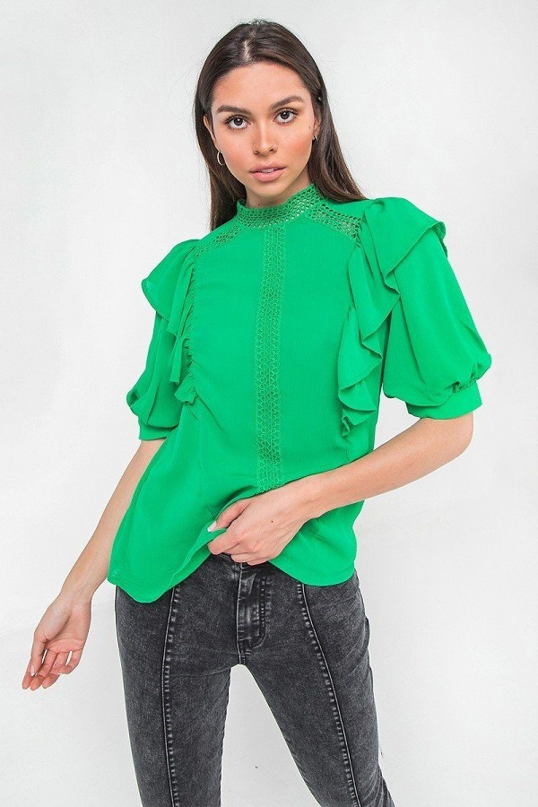 Ruffle over shoulder woven top-id.cc52699