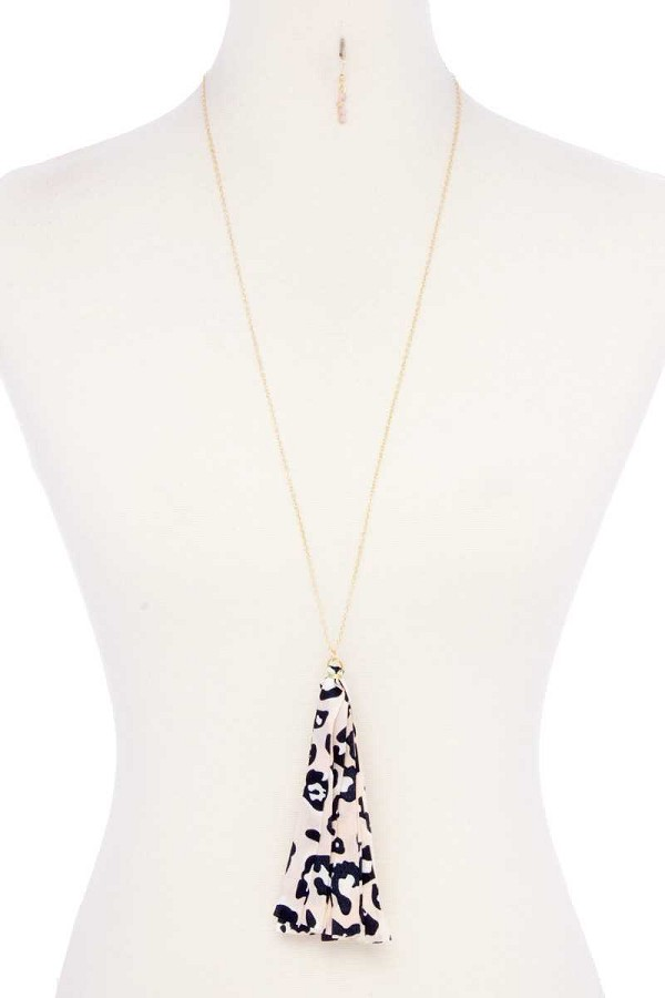 Animal print fabric tassel necklace-id.cc52739
