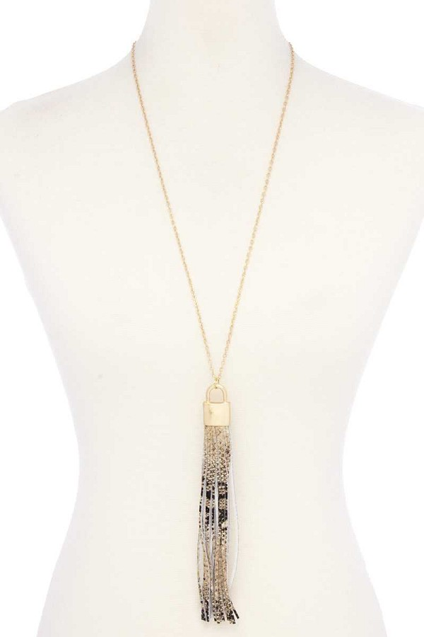 Snake pattern pu leather tassel necklace-id.cc52743