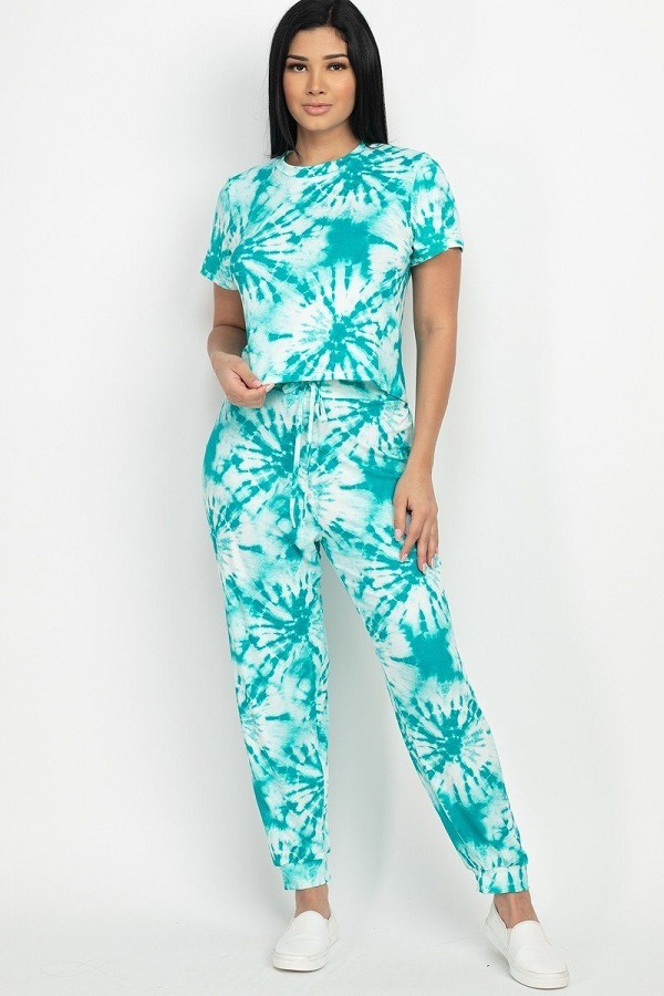 Tie-dye printed top and pants set-id.cc52845h