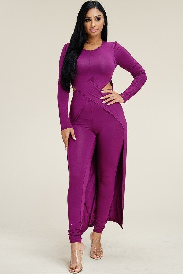 Solid heavy rayon spandex long sleeve crossed over long top and leggings 2 piece set-id.cc52855e