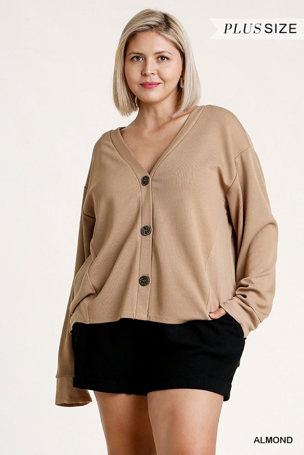 Linen blend button down cardigan with high low hem-id.cc52863