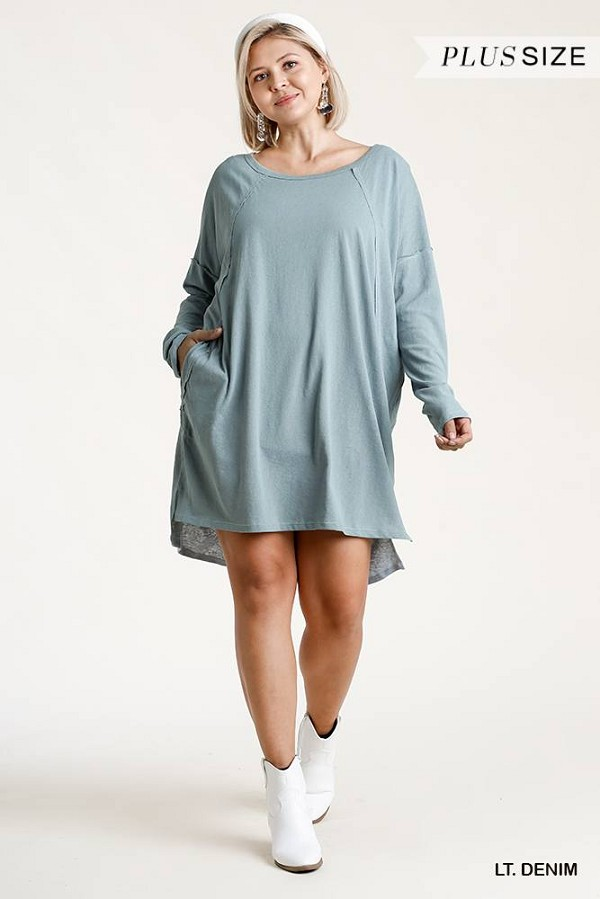 Long raglan sleeve round neck raw edged detail dress with side slits and pockets-id.cc52866b