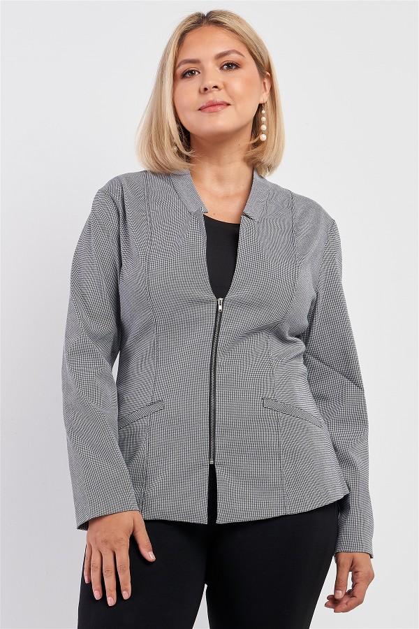 Plus checkered houndstooth pattern front zipper closure jacket-id.cc52869