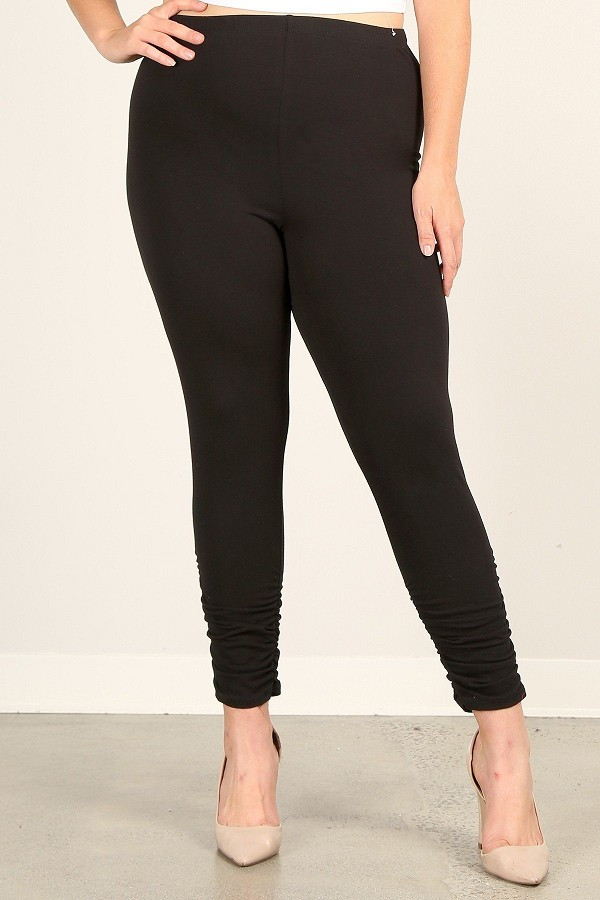 Plus size solid high rise, fitted leggings with an elastic waistband and ruched pants-id.cc52927