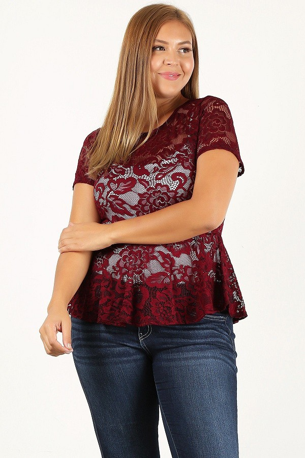 Plus size allover lace, fitted top-id.cc52930