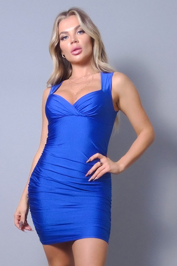 Sleeveless crossover front ruched bodycon mini dress-id.cc53089b