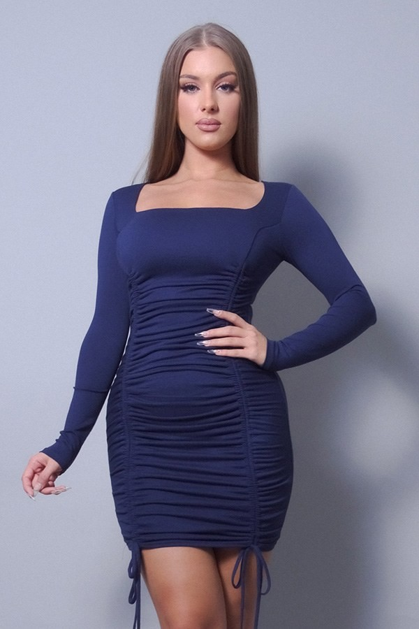 Sexy & chic long sleeve square neck ruching tie basic dress-id.cc53091c